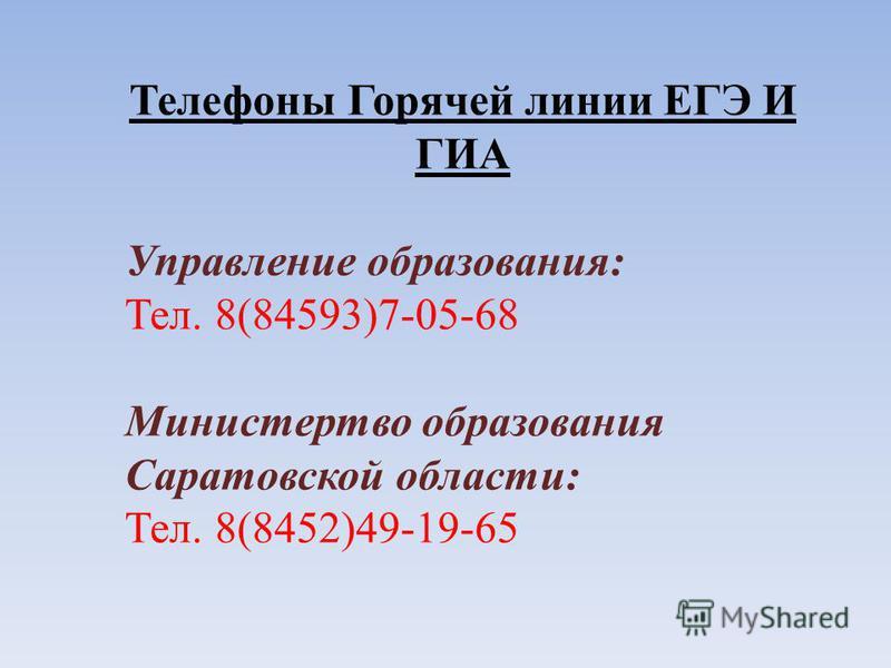 Телефоны Горячей линии ЕГЭ И ГИА Управление образования: Тел. 8(84593)7-05-68 Министертво образования Саратовской области: Тел. 8(8452)49-19-65