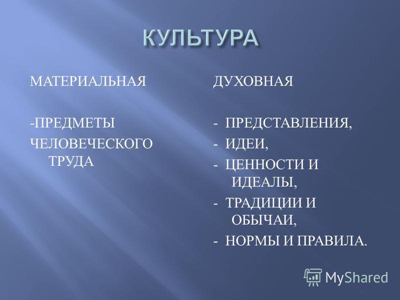 МАТЕРИАЛЬНАЯ - ПРЕДМЕТЫ ЧЕЛОВЕЧЕСКОГО ТРУДА ДУХОВНАЯ - ПРЕДСТАВЛЕНИЯ, - ИДЕИ, - ЦЕННОСТИ И ИДЕАЛЫ, - ТРАДИЦИИ И ОБЫЧАИ, - НОРМЫ И ПРАВИЛА.