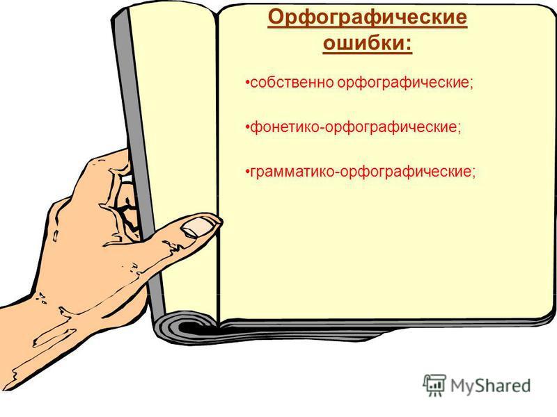 Орфографические ошибки: собственео орфографические; фонетико-орфографические; грамматико-орфографические;
