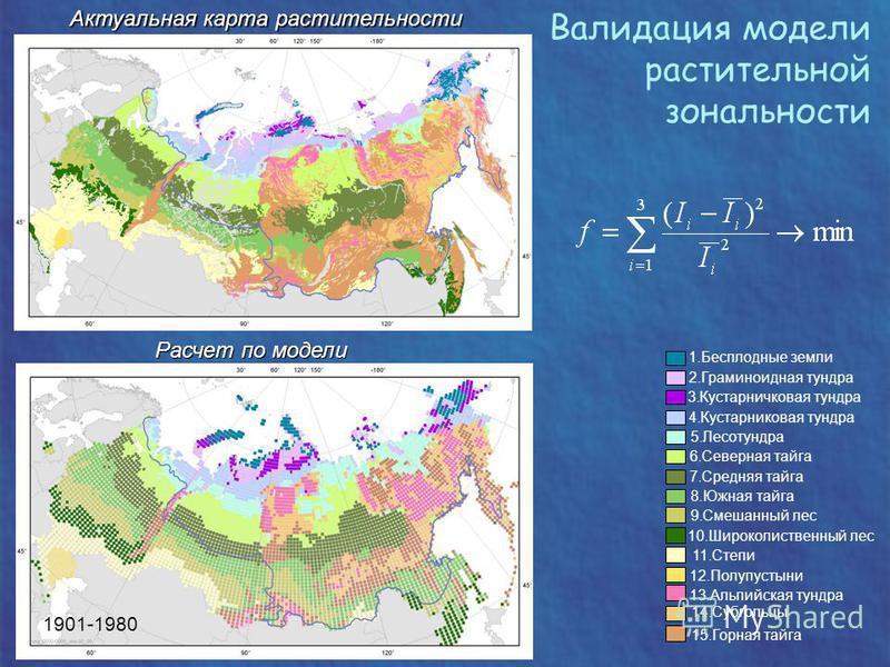Валидация модели растительной зональности Актуальная карта растительности Актуальная карта растительности 1901-1980 Расчет по модели 1. Бесплодные земли 2. Граминоидная тундра 3. Кустарничковая тундра 4. Кустарниковая тундра 5. Лесотундра 8. Южная та