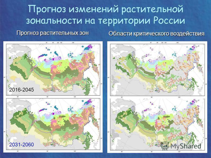 Прогноз растительных зон Области критического воздействия 2016-2045 2031-2060 Прогноз изменений растительной зональности на территории России