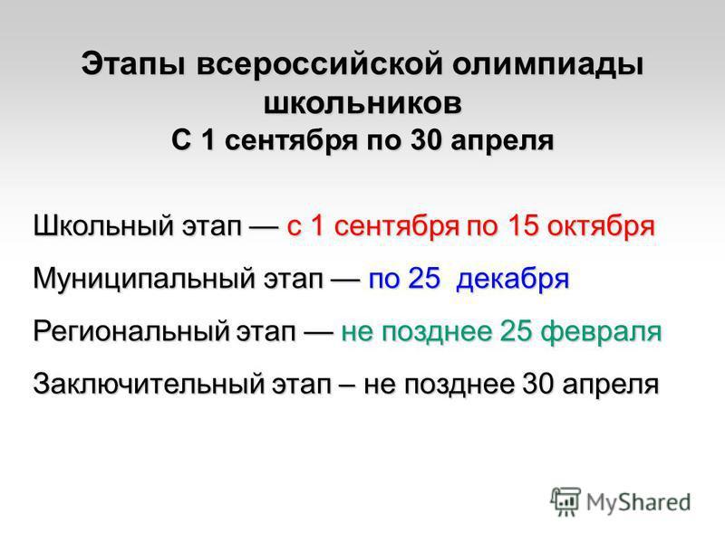 Этапы всероссийской олимпиады школьников С 1 сентября по 30 апреля Школьный этап с 1 сентября по 15 октября Муниципальный этап по 25 декабря Региональный этап не позднее 25 февраля Заключительный этап – не позднее 30 апреля