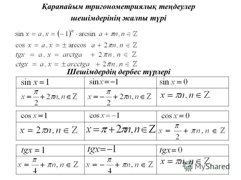 Қарапайым тригонометриялық теңдеулер шешімдерінің жалпы түрі Шешімдердің дербес түрлері