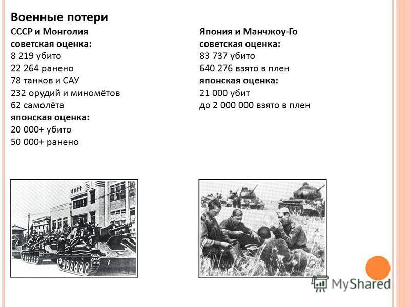 Военные потери СССР и Монголия Япония и Манчжоу-Госоветская оценка: 8 219 убито 83 737 убито 22 264 ранено 640 276 взято в плен 78 танков и САУяпонская оценка: 232 орудий и миномётов 21 000 убит 62 самолёта до 2 000 000 взято в плен японская оценка: