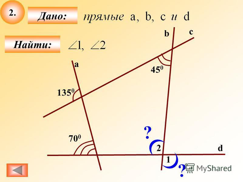 2. Найти: Дано: a c b d 45 0 135 0 70 0 1 2 ? ?