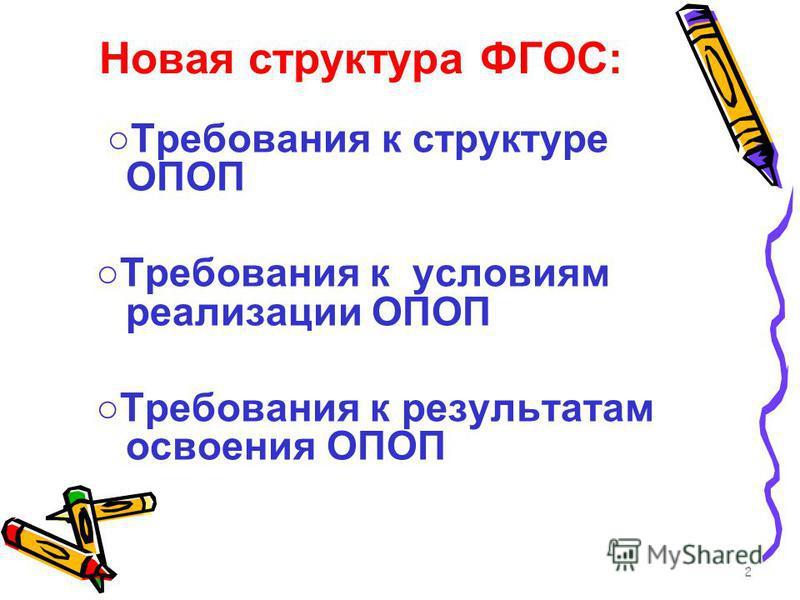 Новая структура ФГОС: 2 Требования к структуре ОПОП Требования к условиям реализации ОПОП Требования к результатам освоения ОПОП