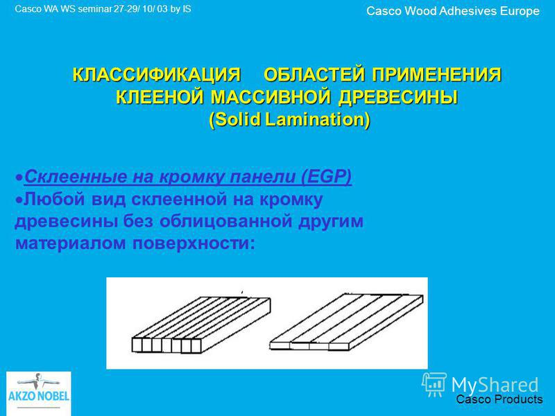 Casco Wood Adhesives Europe Casco WA WS seminar 27-29/ 10/ 03 by IS Casco Products КЛАССИФИКАЦИЯ ОБЛАСТЕЙ ПРИМЕНЕНИЯ КЛЕЕНОЙ МАССИВНОЙ ДРЕВЕСИНЫ (Solid Lamination) (Solid Lamination) Склеенные на кромку панели (EGP) Любой вид склеенной на кромку древ