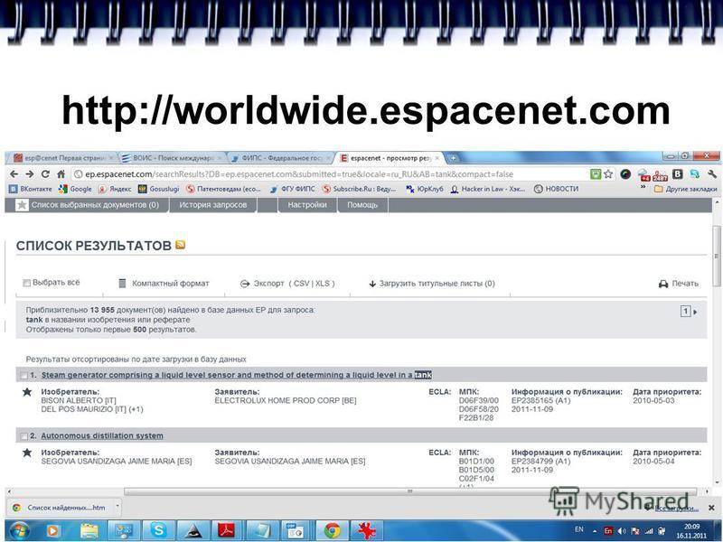 http://worldwide.espacenet.com