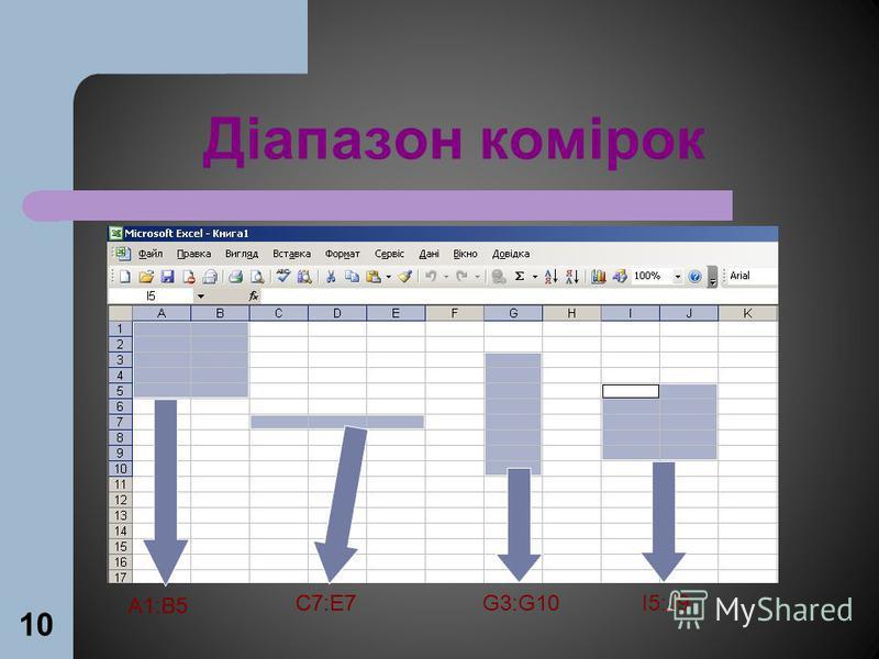 10 Діапазон комірок А1:В5 С7:Е7G3:G10I5:J9 А1:В5 С7:Е7
