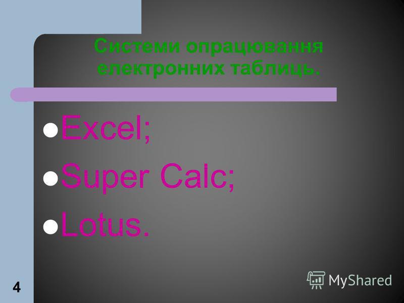 4 Системи опрацювання електронних таблиць. Excel; Super Calc; Lotus.