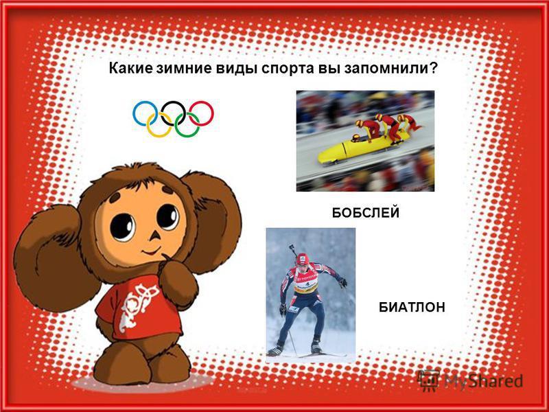 Какие зимние виды спорта вы запомнили? БОБСЛЕЙ БИАТЛОН
