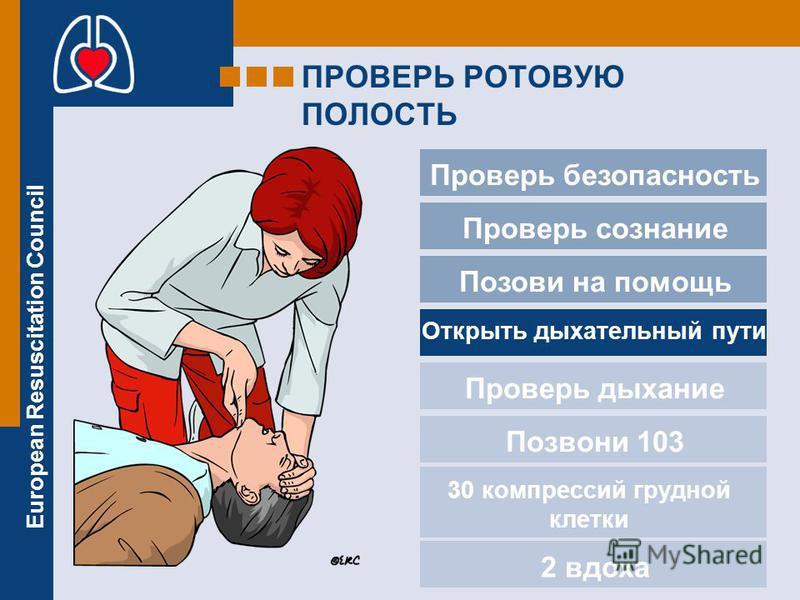 European Resuscitation Council ПРОВЕРЬ РОТОВУЮ ПОЛОСТЬ Проверь безопасность Проверь сознание Позови на помощь Проверь дыхание Позвони 103 2 вдоха Открыть дыхательный пути 30 компрессий грудной клетки