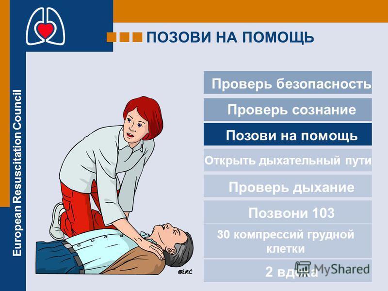 European Resuscitation Council ПОЗОВИ НА ПОМОЩЬ Проверь безопасность Проверь сознание Позови на помощь Проверь дыхание Позвони 103 2 вдоха Открыть дыхательный пути 30 компрессий грудной клетки