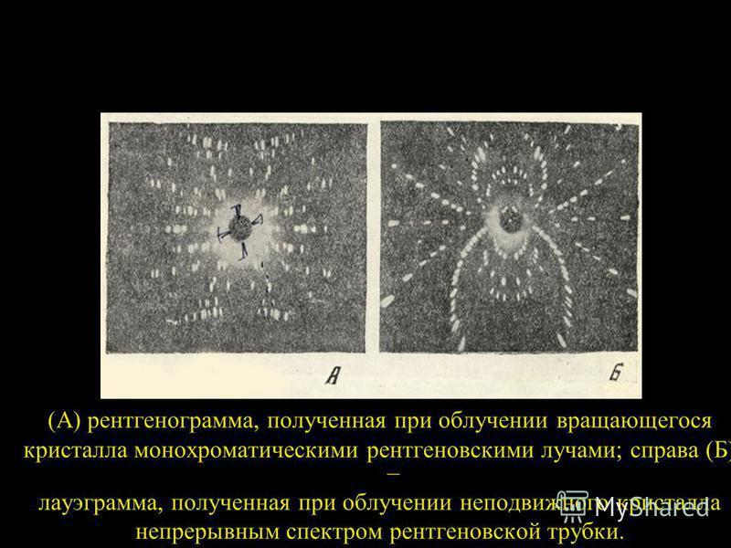 (А) рентгенограмма, полученная при облучении вращающегося кристалла монохроматическими рентгеновскими лучами; справа (Б) – лауэграмма, полученная при облучении неподвижного кристалла непрерывным спектром рентгеновской трубки.