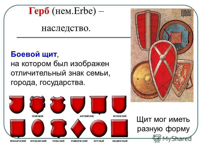 Герб (нем.Erbe) – наследство. Щит мог иметь разную форму Боевой щит, на котором был изображен отличительный знак семьи, города, государства.