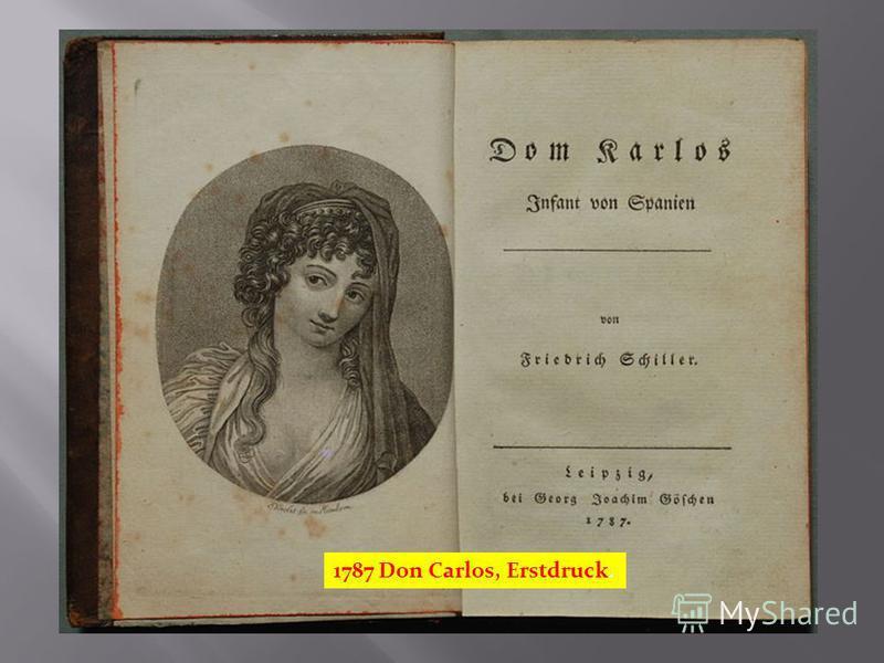 1787 Don Carlos, Erstdruck.