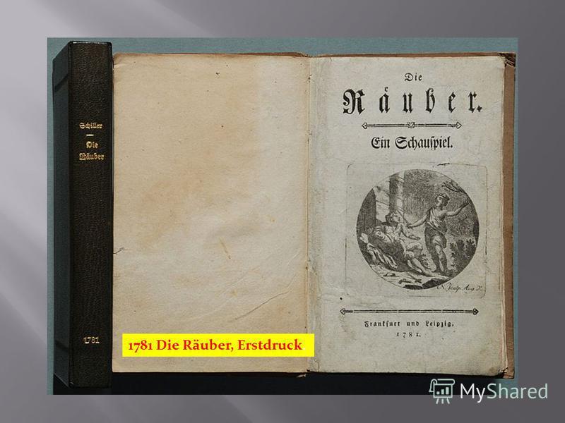 1781 Die Räuber, Erstdruck.
