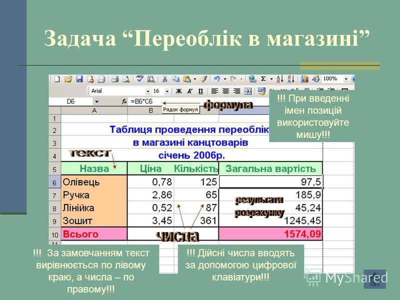 Задача Переоблік в магазині !!! Дійсні числа вводять за допомогою цифрової клавіатури!!! !!! При введенні імен позицій використовуйте мишу!!! !!! За замовчанням текст вирівнюється по лівому краю, а числа – по правому!!!