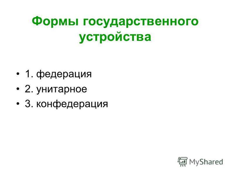 Формы государственного устройства 1. федерация 2. унитарное 3. конфедерация
