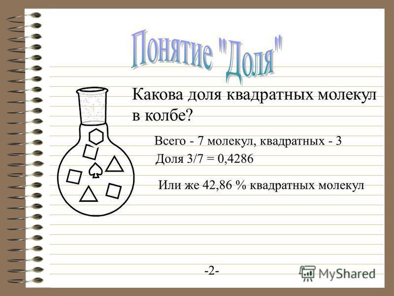 -2- Какова доля квадратных молекул в колбе? Всего - 7 молекул, квадратных - 3 Доля 3/7 = 0,4286 Или же 42,86 % квадратных молекул