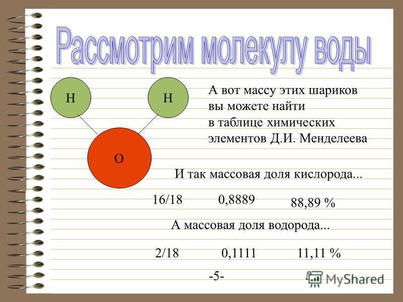 НН О А вот массу этих шариков вы можете найти в таблице химических элементов Д.И. Менделеева И так массовая доля кислорода... 16/180,8889 88,89 % -5- А массовая доля водорода... 2/180,111111,11 %