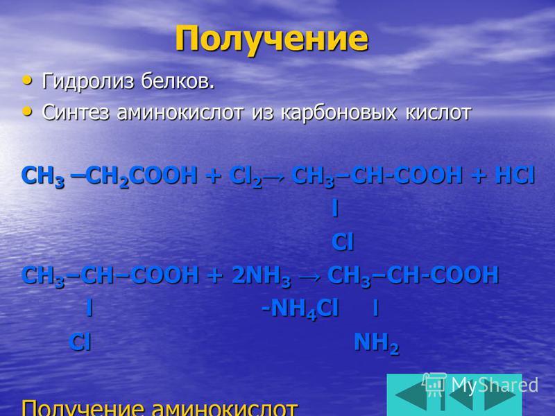 Получение Гидролиз белков. Гидролиз белков. Синтез аминокислот из карбоновых кислот Синтез аминокислот из карбоновых кислот CH 3 –CH 2 COOH + Cl 2 CH 3 – CH-COOH + HCl l Cl Cl CH 3 – CH – COOH + 2NH 3 CH 3 – CH-COOH l -NH 4 Cl l l -NH 4 Cl l Cl NH 2