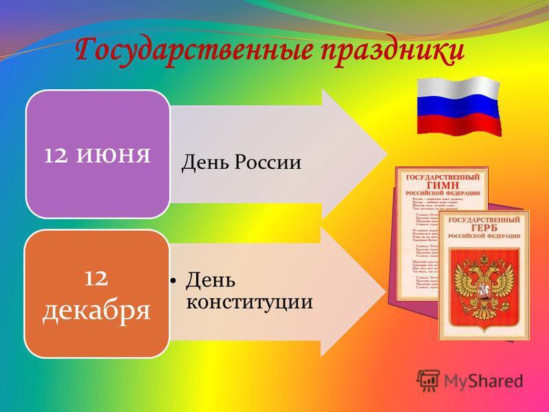 Государственные праздники 12 июня День конституции 12 декабря День России