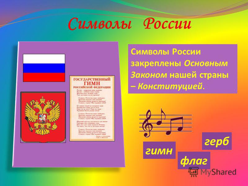 Символы России Символы России закреплены Основным Законом нашей страны – Конституцией. флаг герб гимн