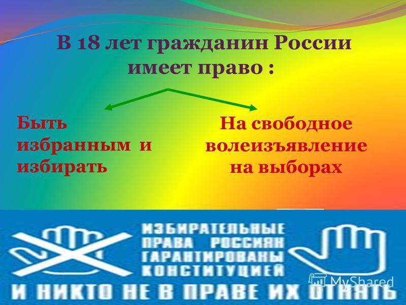 Быть избранным и избирать В 18 лет гражданин России имеет право : На свободное волеизъявление на выборах