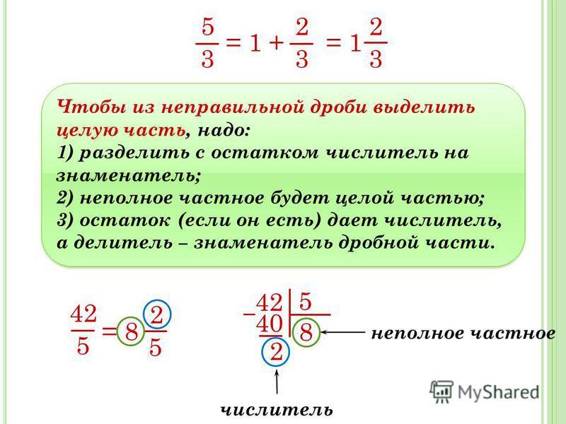 5 3 = 1 + = 1 2 3 2 3 Чтобы из неправильной дроби выделить целую часть, надо: 1) разделить с остатком числитель на знаменатель; 2) неполное частное будет целой частью; 3) остаток (если он есть) дает числитель, а делитель знаменатель дробной части. Чт