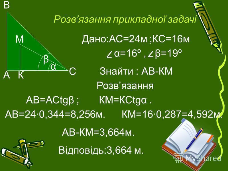 Розвязання прикладної задачі α β AК C B М Дано:АС=24м ;КС=16м α=16º, β=19º Знайти : АВ-КМ Розвязання АВ=АСtgβ ; КМ=КСtgα. АВ=24·0,344=8,256м. КМ=16·0,287=4,592м. АВ-КМ=3,664м. Відповідь:3,664 м.