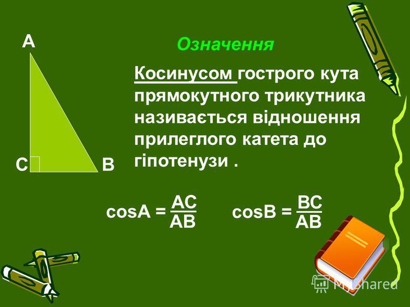 А ВС Означення Косинусом гострого кута прямокутного трикутника називається відношення прилеглого катета до гіпотенузи. cosА = АС АВ cosВ = ВС АВ