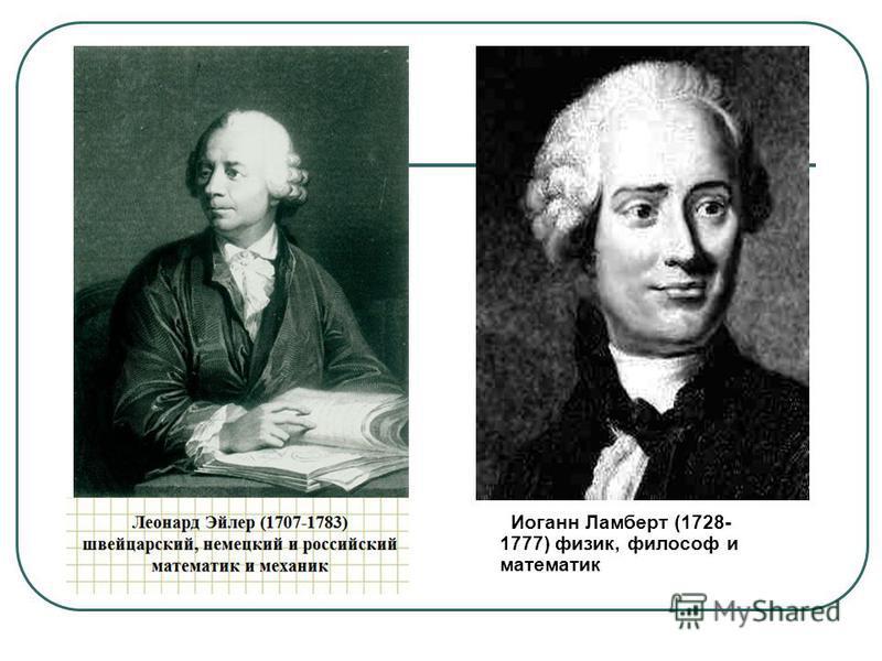 Леонард Эйлер (1707-1783) швейцарский, немецкий и российский математик и механик Иоганн Ламберт (1728- 1777) физик, философ и математик