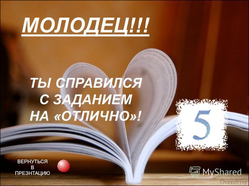 МОЛОДЕЦ!!! ТЫ СПРАВИЛСЯ С ЗАДАНИЕМ НА «ОТЛИЧНО»! ВЕРНУТЬСЯ В ПРЕЗНТАЦИЮ