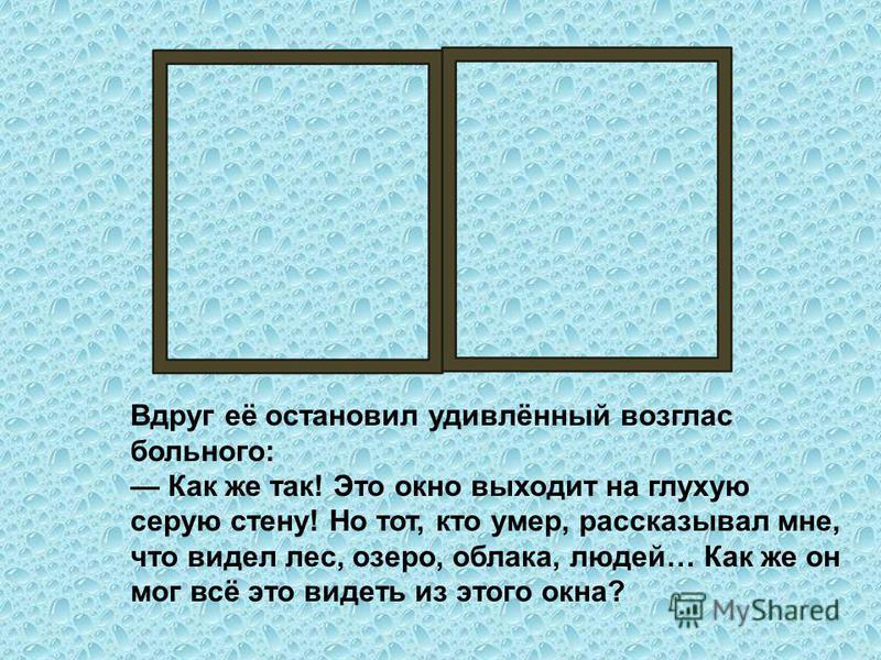 Вдруг её остановил удивлённый возглас больного: Как же так! Это окно выходит на глухую серую стену! Но тот, кто умер, рассказывал мне, что видел лес, озеро, облака, людей… Как же он мог всё это видеть из этого окна?