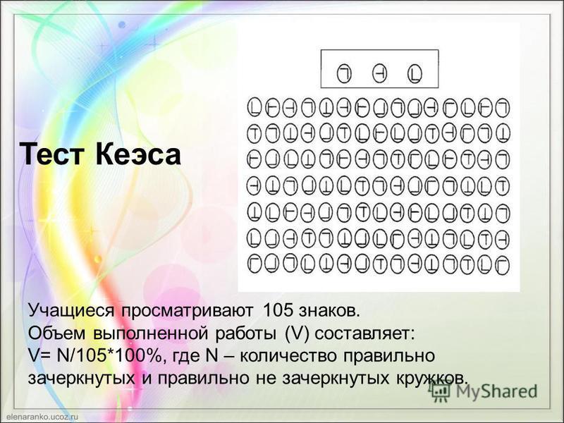 Тест Кеэса Учащиеся просматривают 105 знаков. Объем выполненной работы (V) составляет: V= N/105*100%, где N – количество правильно зачеркнутых и правильно не зачеркнутых кружков.