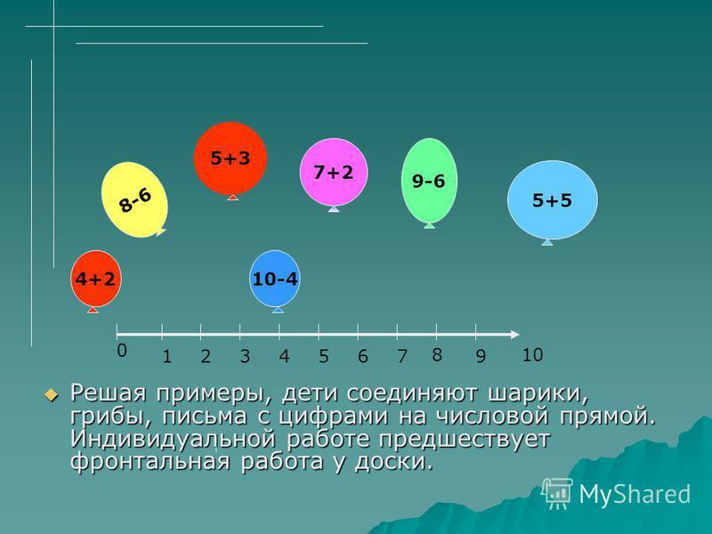 Решая примеры, дети соединяют шарики, грибы, письма с цифрами на числовой прямой. Индивидуальной работе предшествует фронтальная работа у доски. Решая примеры, дети соединяют шарики, грибы, письма с цифрами на числовой прямой. Индивидуальной работе п