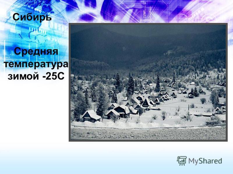 Сибирь Средняя температура зимой -25С