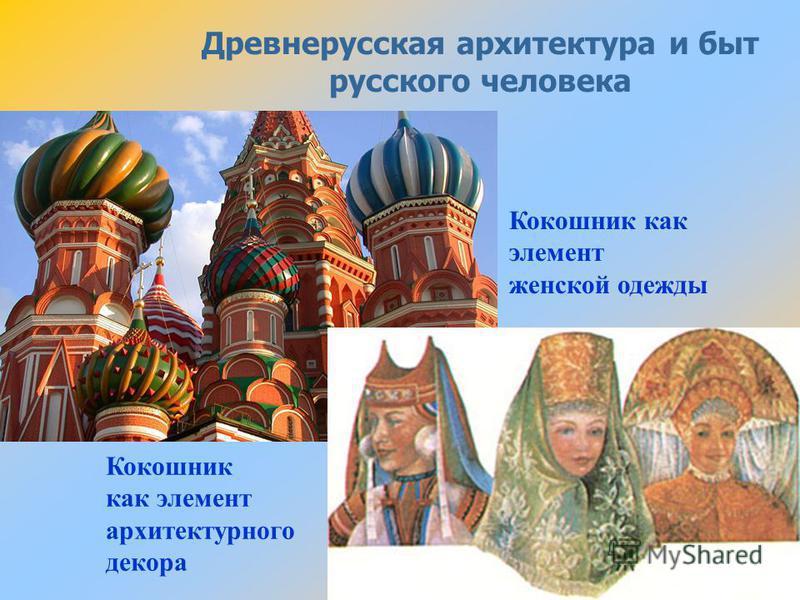 Древнерусская архитектура и быт русского человека Кокошник как элемент женской одежды Кокошник как элемент архитектурного декора