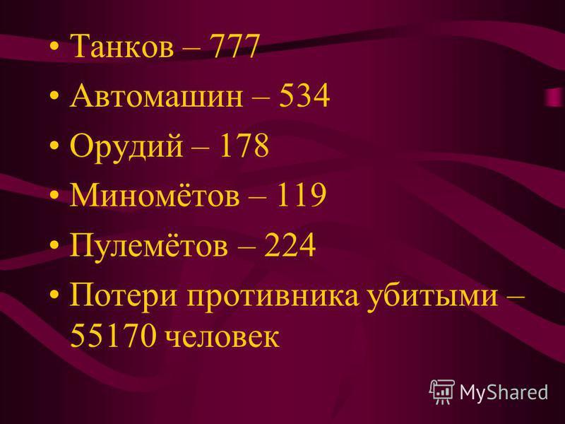 Танков – 777 Автомашин – 534 Орудий – 178 Миномётов – 119 Пулемётов – 224 Потери противника убитыми – 55170 человек