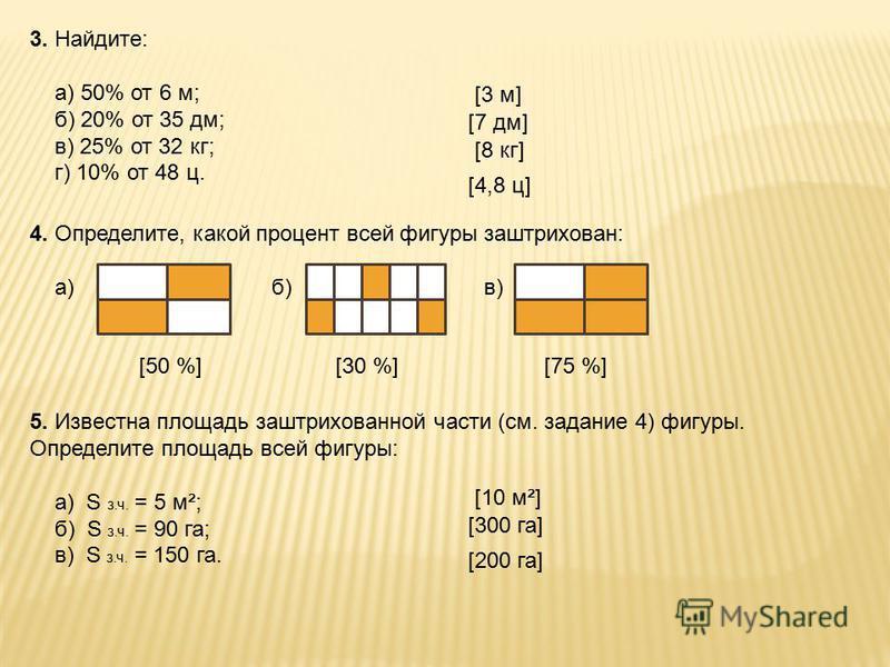 3. Найдите: а) 50% от 6 м; б) 20% от 35 дм; в) 25% от 32 кг; г) 10% от 48 ц. 4. Определите, какой процент всей фигуры заштрихован: а) б) в) [50 %] 5. Известна площадь заштрихованной части (см. задание 4) фигуры. Определите площадь всей фигуры: а) S з