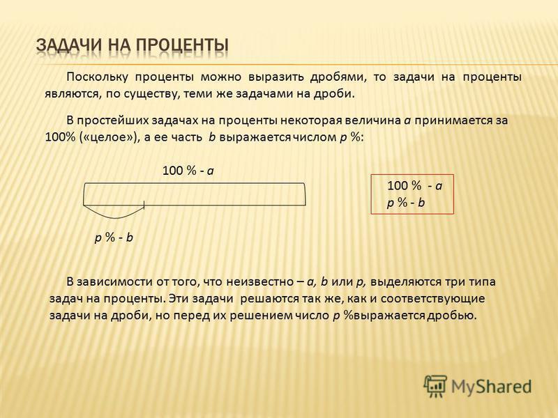 Поскольку проценты можно выразить дробями, то задачи на проценты являются, по существу, теми же задачами на дроби. В простейших задачах на проценты некоторая величина а принимается за 100% («целое»), а ее часть b выражается числом р %: 100 % - а р %