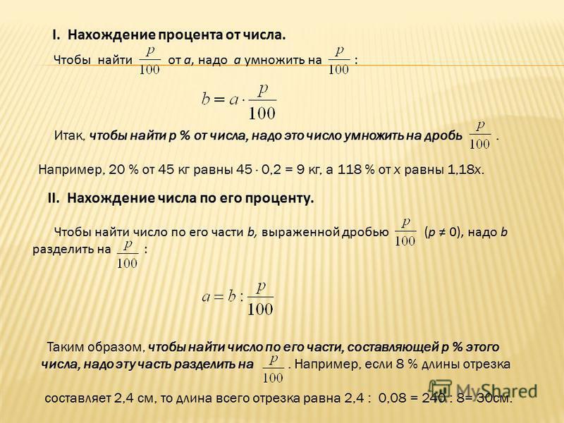 I. Нахождение процента от числа. Чтобы найти от а, надо а умножить на : Итак, чтобы найти р % от числа, надо это число умножить на дробь. Например, 20 % от 45 кг равны 45 · 0,2 = 9 кг, а 118 % от х равны 1,18х. II. Нахождение числа по его проценту. Ч
