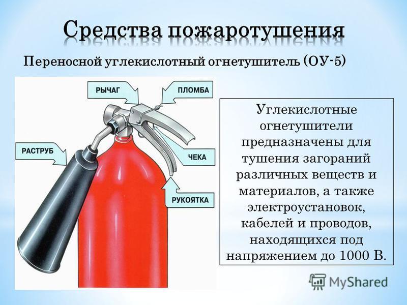 Переносной углекислотный огнетушитель (ОУ-5) Углекислотные огнетушители предназначены для тушения загораний различных веществ и материалов, а также электроустановок, кабелей и проводов, находящихся под напряжением до 1000 В.