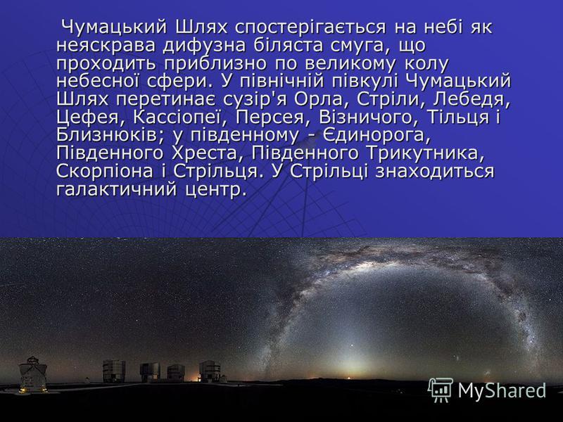 Чумацький Шлях спостерігається на небі як неяскрава дифузна біляста смуга, що проходить приблизно по великому колу небесної сфери. У північній півкулі Чумацький Шлях перетинає сузір'я Орла, Стріли, Лебедя, Цефея, Кассіопеї, Персея, Візничого, Тільця