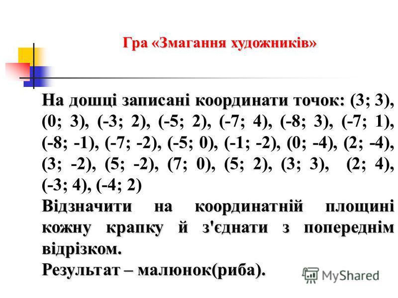 На дошці записані координати точок: На дошці записані координати точок: (3; 3), (0; 3), (-3; 2), (-5; 2), (-7; 4), (-8; 3), (-7; 1), (-8; -1), (-7; -2), (-5; 0), (-1; -2), (0; -4), (2; -4), (3; -2), (5; -2), (7; 0), (5; 2), (3; 3), (2; 4), (-3; 4), (