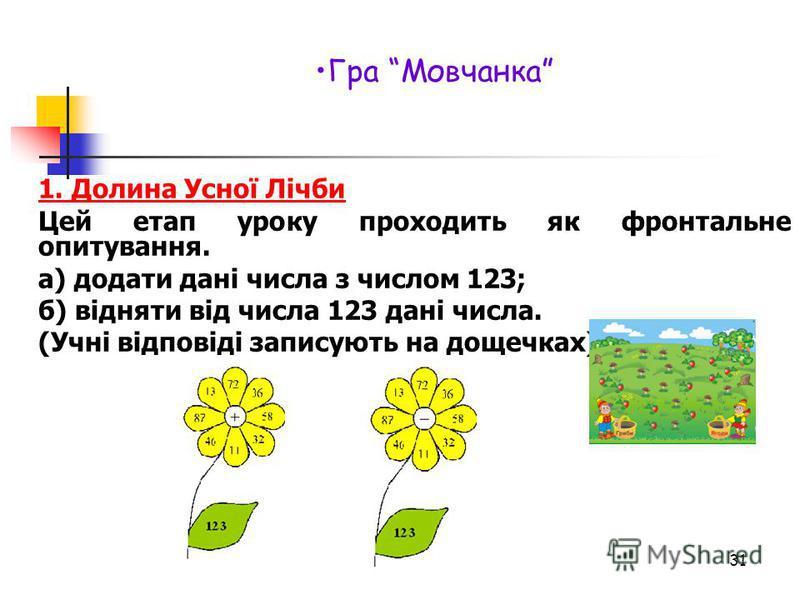 1. Долина Усної Лічби Цей етап уроку проходить як фронтальне опитування. а) додати дані числа з числом 123; б) відняти від числа 123 дані числа. (Учні відповіді записують на дощечках) 31 Гра Мовчанка