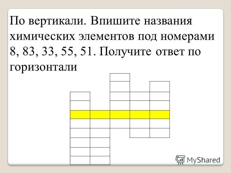 По вертикали. Впишите названия химических элементов под номерами 8, 83, 33, 55, 51. Получите ответ по горизонтали