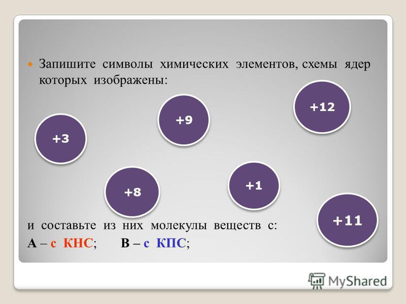 Запишите символы химических элементов, схемы ядер которых изображены: и составьте из них молекулы веществ с: А – с КНС; В – с КПС; +3 +8 +9 +12 +11 +1