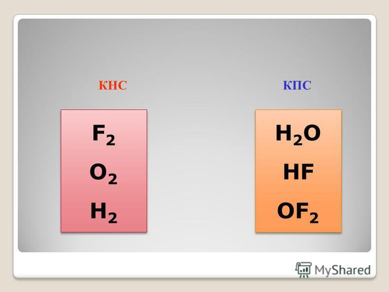 КНС КПС H 2 O HF OF 2 H 2 O HF OF 2 F2O2H2F2O2H2 F2O2H2F2O2H2